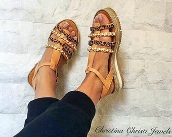 Leather Gladiator Sandals, Leather Sandals, Gladiator Sandals, Flat Sandals, Summer Shoes, Made in Greece by Christina Christi Jewels.