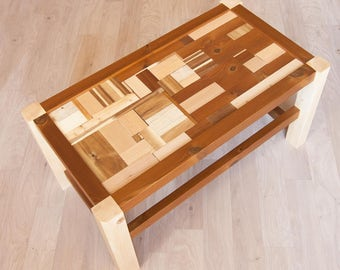 Mestiza chaflán 01.   Low coffee table made from pieces of various types of wood