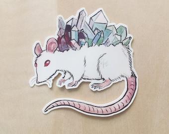 Watercolor Crystal Rat - Vinyl Sticker