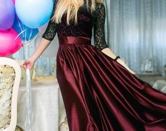 Maxi dress Maroon Black Prom Dress Cocktail Dress long sleeve Party dress electric blue Evening dress Holiday dress Floor length dress plus