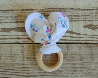 Teething toy, Teether, Wooden teething ring, Cloth teething toy, Handmade baby item, Baby gift, Shower gift
