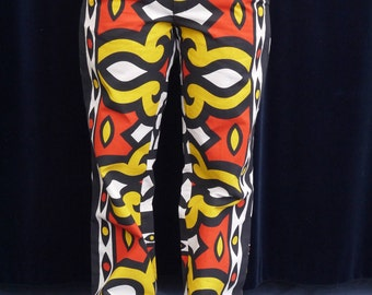 Amazing 1970's trousers 60's 70's vintage pants High waist boho chic Mod pants men pants hand made african boho print pants large size