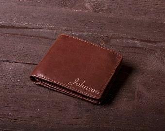 Personalized Men's Wallet, Custom Engraved Leather Wallet - Groomsmen gift, Engraved Leather Wallet, Unique Mens Gift, Monogram, Name #4107