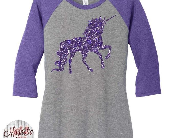 Featured listing image: Glitter Unicorn Women's Baseball Raglan Tee