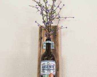 Absinthe Bottle Wall Vase with Flowers - Reclaimed Wood