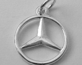 Genuine SOLID 925 STERLING SILVER 3D Mercedes Benz Sign Logo Car charm/pendant