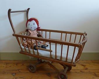 Former pram vintage toy child France Old vintage wooden wooden baby toy french pram