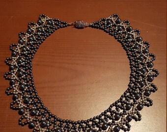 Swarovski black crystal pearl necklace