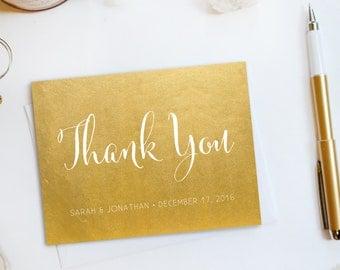 Wedding Thank You Card, Custom Photo Wedding Thank You Cards Gold Foil Wedding Thank You Cards Vintage Gold Foil Wedding Cards Sarah3b