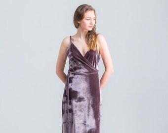 Slip Velvet Dress/ FREE Shipping/ CUSTOM MADE/ Sexy Dress/ V neck Dress/ Velvet Wrap Dress/ Evening Dress/ Elegant Dress/ Lingerie Dress