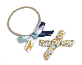 Aztec Bow // Small Bows // Baby Bow Set // Navy Bow // Baby Gift // Baby Shower // Yellow Bow