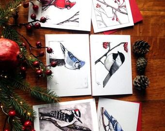 Series of six cards - winter birds