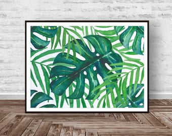 Monstera Print, Tropical Print, Botanical Wall Art, Tropical Wall Art, Green Leaf, Leaf Pattern Printable Art, Instant Download