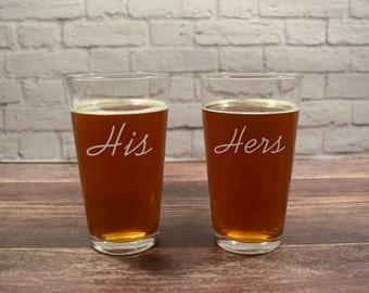 His and Hers Beer, His Hers Beer, His Beer, Hers Beer, His Hers Pint Glass, His and Hers glasses, Beer Glass Set, Wedding Beer Gift