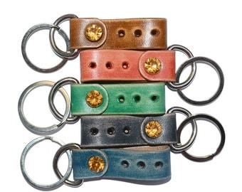 Black Leather Keychain / Leather Key Fob, Mens Keychain, Leather Key Holder / Key Ring, Leather Key Wristlet, Key Ring Holder