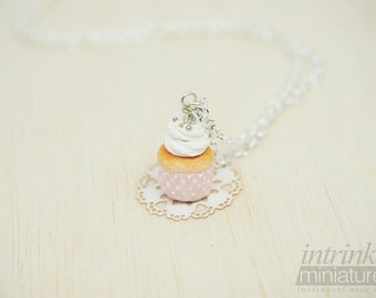 Pink Pearls Polka-dots Miniature Polymer Clay Cupcake Charm Pendant Necklace