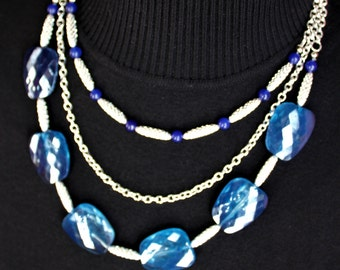 3-Strand Necklace with Blue Beads and Silver Chain and Tubes