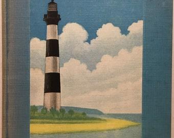 Antique Charleston Harbor book, South Carolina maritime history. Lighthouse, old photographs, Civil War, ships, navy yacht submarine island