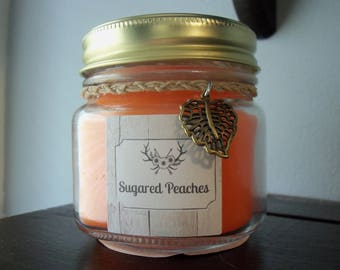 Sugared Peaches Scented Candle In Mason Jar