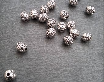 20 or BULK 80 Antique Silver Tone 5mm Bali Style Round Spacer Beads