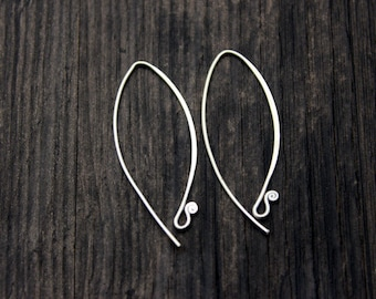 1 pair of Handmade Sterling Silver Ear Wires, Sterling Silver Ear hook, Sterling Silver wire hooks