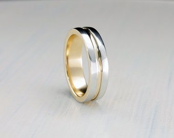 5mm gold wedding band minimalist ring 14k solid two tone gold wedding ring