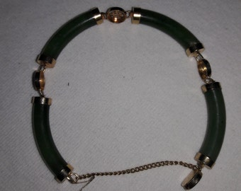 Jade and Gold Plated Chinese Asian Vintage Bracelet