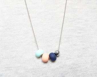 Mint necklace, Peach necklace, Navy blue necklace, Pastel necklace, Adjustable necklace, Layering necklace, Cute necklace, Gift for mother