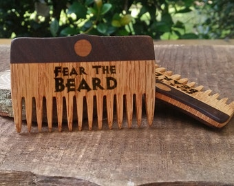 FEAR THE BEARD laser engraved beard comb. Handmade, oak and walnut inlay. Father's Day Gift for dad.