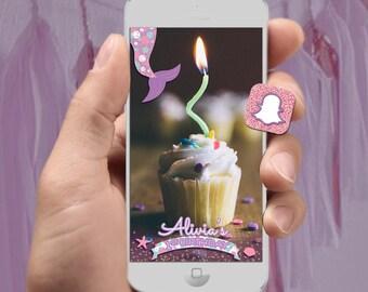 Mermaid Snapchat Filter - Mermaid Tail Birthday Party Design - Sea Shell, Star Fish, Gold Glitter, Pink Glitter - Custom Name & Age - SALE!