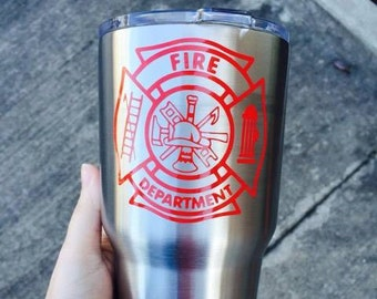 Firefighter Decal / Firefighter Logo Decal / Fire Department Decal / Maltese Cross Decal / Maltese Fire Cross Decal / Maltese Decal