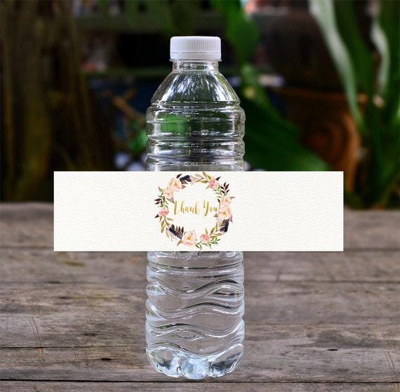 Boho water bottle labels baby shower water labels drink for Decor drink bottle