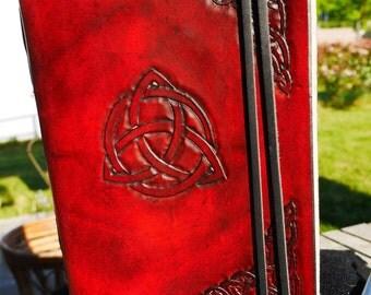 Celtic leather grimoire, blank book grimoire