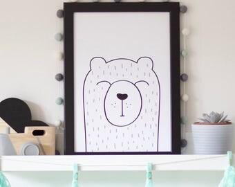 SUMMER SALE - Bear Print | Teddy Bear Print | Teddy Print | Nursery Print | Nursery Decor