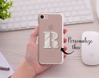 Rose Gold Marble Personalized Initial iPhone case, Clear Transparent Phone Case,  5/5s/SE, iPhone 6/6s, iPhone 6Plus/6sPlus, iPhone7/7plus
