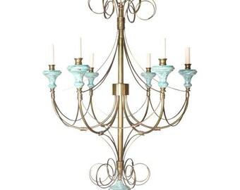 Turquoise Wood & Brass Chandelier