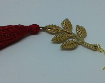 Burgundy tassel earrings, dark red earrings, tassel earrings, red tassel jewelry, satin tassel, Long earrings, gold leaf earrings