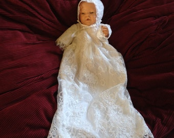 Antique Lace Blessing Dress, Baby Girl Lace Blessing Dress, Lace Christening Dress, White Lace Dress, Baby Girl Lace Christening Dress