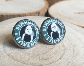 Starbucks lovers! Earrings, glass cabochons!