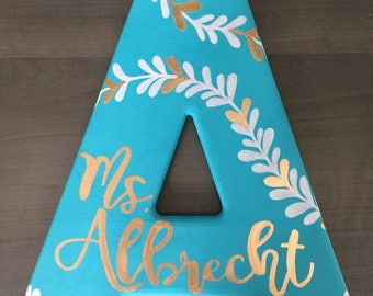 CUSTOM Hand Painted and Decorated Initial Wood Letter