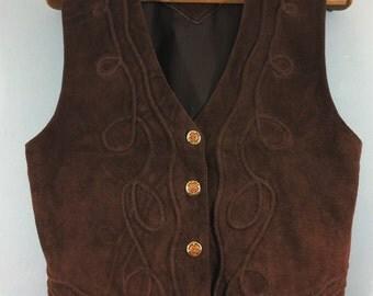 "VINTAGE RARE genuine suede brown  waistcoat 42"" chest festival"