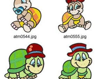 Cute Turtles ( 8 Machine Embroidery Designs from ATW ) XYZ17E