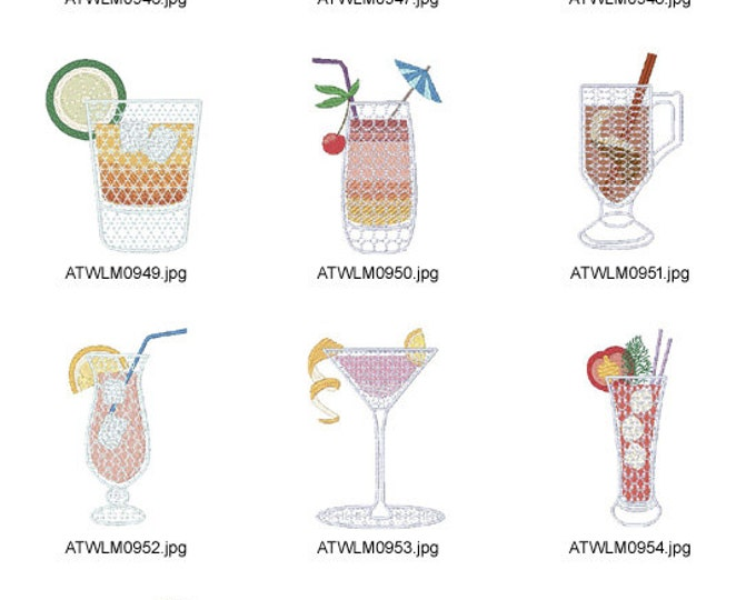 Cocktail-Party ( 10 Machine Embroidery Designs from ATW )