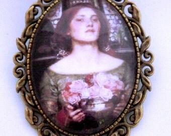 Gather ye Rosebuds - John William Waterhouse cameo brooch