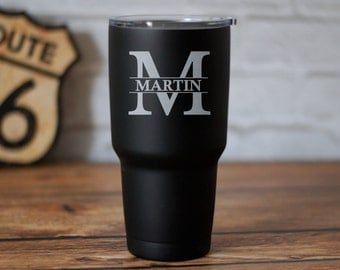 Personalized 30oz Travel Tumbler, Engraved Travel Mug, Personalized Yeti Monogram, RTIC, Custom Rambler, Initial Mug,Insulated Tumbler