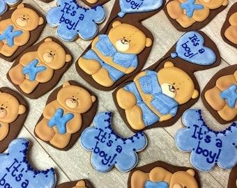Baby shower cookies Set  (Set of 12), teddy bear cookies favors and bib cookies -  Baby girl cookies, Baby boy cookies