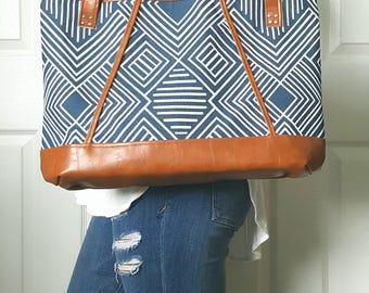 Blue Navy Geometric Print, Brown Faux Leather Bag, Tote, Diaper, Beach, Travel, Work, Market, Travel, Laptop, Bags, Bag, Handbag, Purse