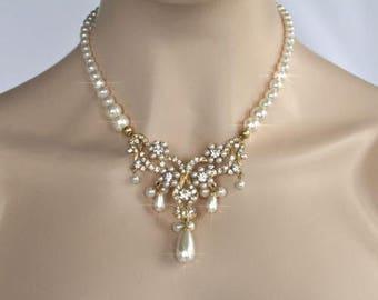 Vintage Inspired Pearl & Crystal Rhinestone Bridal Necklace, Wedding (Pearl-383)