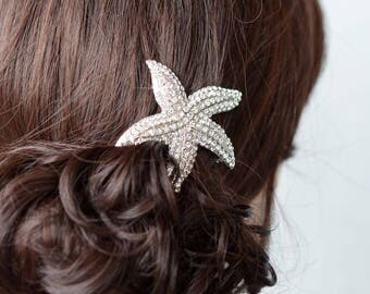 Rhodium or Yellow Gold Handmade Clear Crystal Rhinestone Starfish Hair Clip, Bridal, Wedding (Sparkle-2726)