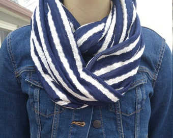 Navy Infinity Scarf/Handmade Striped Knit Fabric Scarf/White and Navy Blue/Infinity Fashion Accessory